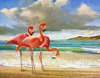 Beach Scene Flamingos Fine Art Print