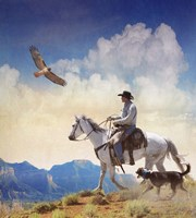 Cowboy With Dog And Hawk Fine Art Print