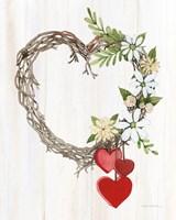 Rustic Valentine Heart Wreath II Fine Art Print