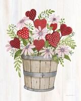 Rustic Valentine Bushel Basket Fine Art Print