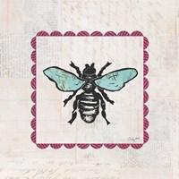 Bee Stamp Bright Framed Print
