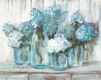 Hydrangeas in Glass Jars Blue Fine Art Print