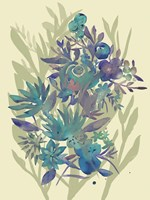 Slate Flowers on Cream II Framed Print