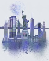 New York Skyline Watercolour Splash Blue Fine Art Print