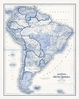South America in Shades of Blue Fine Art Print
