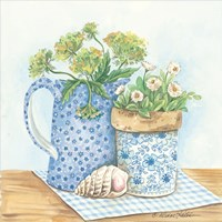 Blue and White Pottery with Flowers I Fine Art Print