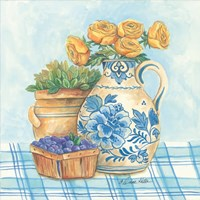 Blue and White Pottery with Flowers II Fine Art Print