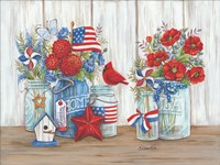 Patriotic Glass Jars with Flowers Fine Art Print