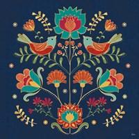 Folk Floral II Dark Fine Art Print