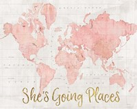 Across the World Shes Going Places Pink Framed Print