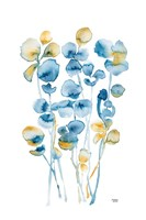 Blue and Gold Watercolor Floral Fine Art Print