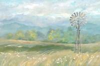 Country Meadow Windmill Landscape Fine Art Print