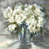 White and Taupe Hydrangeas Sill Life Fine Art Print