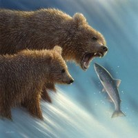 Brown Bears - Fishing Lesson Fine Art Print