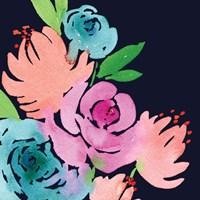 Navy Floral Square I Fine Art Print