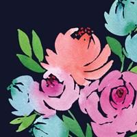 Navy Floral Square II Fine Art Print