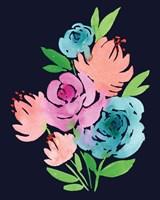 Navy Watercolor Floral I Fine Art Print