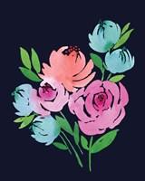 Navy Floral Watercolor II Fine Art Print