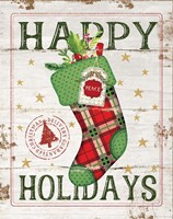 Happy Holidays Stocking Fine Art Print