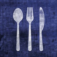 Indigo Spoon Fork Knife Fine Art Print