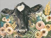 Cow in the Flower Garden Fine Art Print