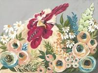 Hen in the Flower Garden Fine Art Print