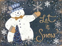 Snowy Christmas Snowman Fine Art Print