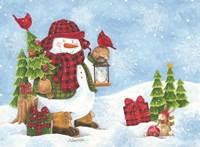 Lodge Snowman Fine Art Print