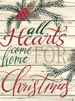 All Hearts Come Home for Christmas Shiplap Framed Print