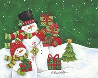 Father and Son Merry Christmas Snowmen Fine Art Print