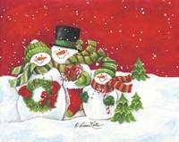 Snowmen Family Merry Christmas Fine Art Print