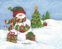 Snowman with Ornament Fine Art Print