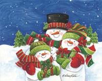 Blustery Snowmen Family Fine Art Print