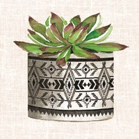 Cactus Mud Cloth Vase I Fine Art Print