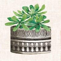 Cactus Mud Cloth Vase II Framed Print