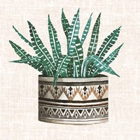 Cactus Mud Cloth Vase III Fine Art Print