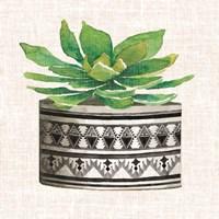 Cactus Mud Cloth Vase IV Framed Print