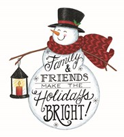 Holidays Bright Snowman Fine Art Print