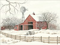 Winter Barn with Windmill Fine Art Print