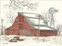 Winter Barn with Pickup Truck Fine Art Print