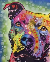 Thoughtful Pit Bull White Bubble Fine Art Print