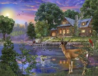 White Tail Deer Lakehouse Fine Art Print