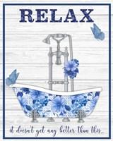 Blue Floral Bath Art A Fine Art Print