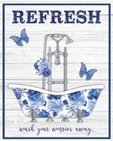 Blue Floral Bath Art B Fine Art Print