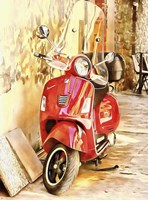 The Red Vespa Fine Art Print