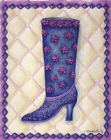 Boots Blue With Pink Flowers Dots Fine Art Print