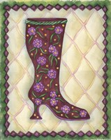 Boots Magenta With Roses With Leaves Fine Art Print