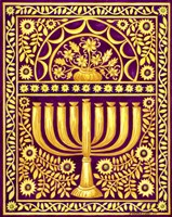 Hanukah Menorah On Magenta Fine Art Print