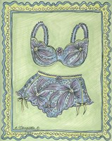Lingerie Blue Bra Panties Framed Print