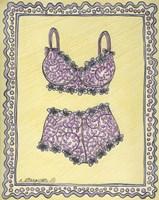 Lingerie Pink Bra Panties Framed Print